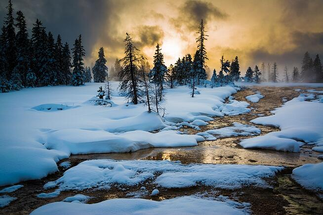 Yellowstone National Park in the snow
