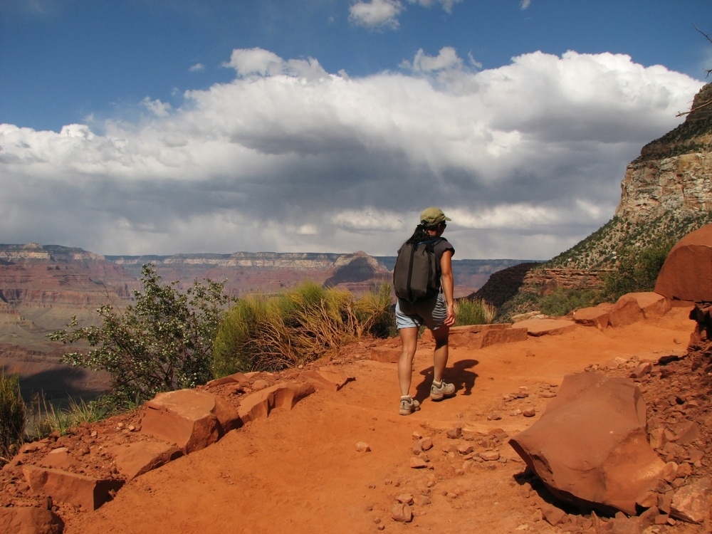Woman hiking the Bright Angel Trail at the Grand Canyon