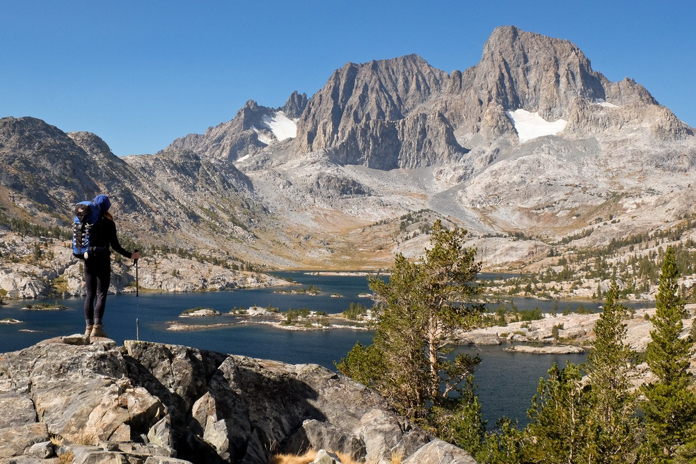 Woman hiking the John Muir Trail
