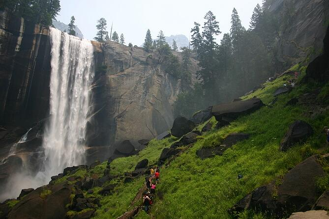Hikers on the Mist Trail in Yosemite