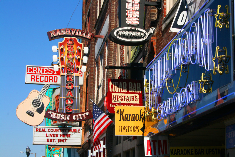 Fronts of bars and shops in Downtown Nashville
