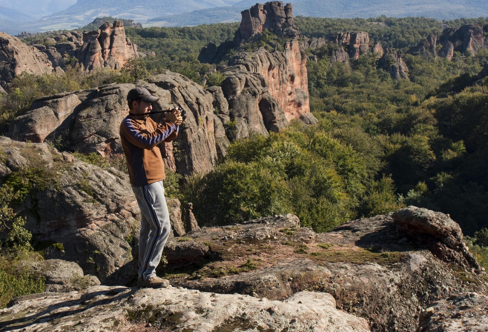 Man taking photograph in USA national park