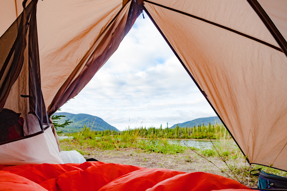 View from a tent of the Yukon wilderness